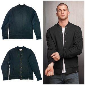 American Giant Heavyweight Baseball Snap Front Sweatshirt Jacket Black